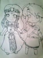 Link and Zelda chibi by AnaChan97