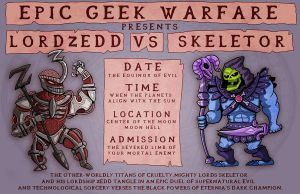 Geek Warfare Poster: Lord Zedd vs Skeletor by ehudsbloodysword