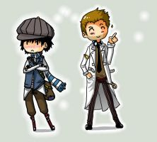Jones and Holmes - Chibi by Leyhena