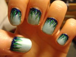 Icy flame nails by luminousleopard
