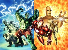 Iron Man and Incredible Hulk by felipemassafera