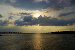 sunset over the river by Su58