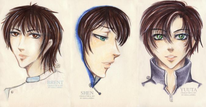 Brent, Shen and Yuuta Mini-Portraits by Khallandra