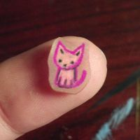 Tiny Shrinky Dink Cat by Painted-Kitty