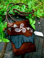 Celtic Triskele and Ivy Leather Bag by EireCrescent