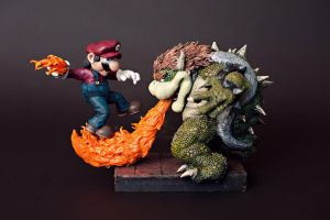 Mario vs Bowser by FritoFrito