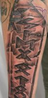 Runes in Stone Tattoo by 2Face-Tattoo