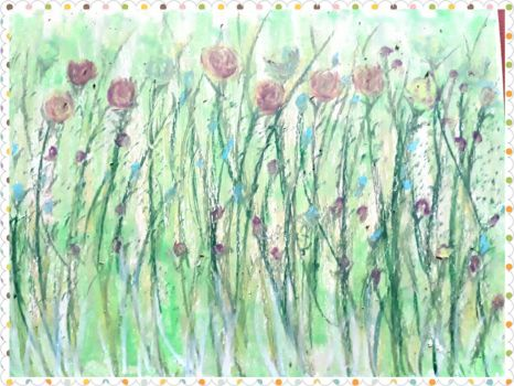 the soft flowers,oil pastel on paper by irmaGallerys
