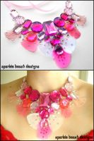 Pink Gems and Feather Necklace by Natalie526