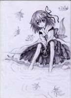 Wanko-mimi putting her leg into the water. by Kudo008