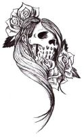 lady skull design by soldadoporvida