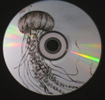 Jelly Fish carved on CD by ArtCrazy24-7