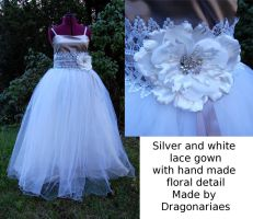 Silver floral gown by dragonariaes