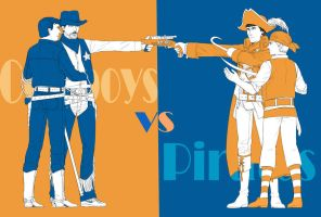 cowboys vs pirates by vivzer