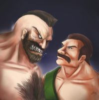 Death Battle Sketch: Haggar vs Zangief by DotWork-Studio
