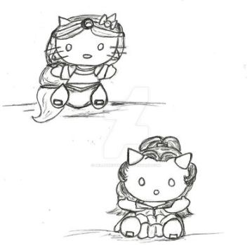 Hello Kitty as Belle and Jasmine coloring sheet by belldandyamz