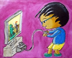 Kid playing game by MauricioKanno
