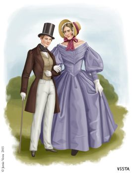 Female and male fashions, c.1839 by Eves-Rib