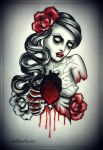 DEAD HEART tattoo design by oldSkullLovebyMW