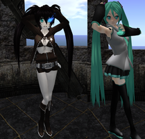 Black Rock Shooter and Miku Posing by xSakuyaChan510x