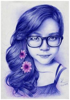 ballpoint pen drawing- my girlfriend by Thanh-KaMi