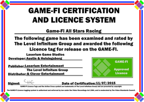 All Stars Racing Game-Fi Certificate by LevelInfinitum