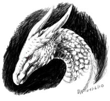 Greyscale dragon by LeccathuFurvicael