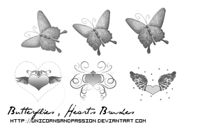Butterflies and hearts brushes. by Unicornsandpassion