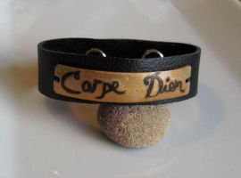 Carpe Diem Leather Cuff by Peaceofshine