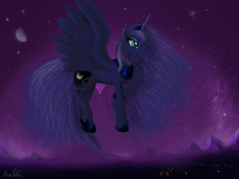 Princess Luna over Ponyville by HengeBellika