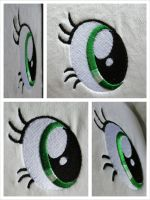 Eye Embroidery Sample by equinepalette