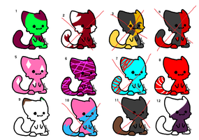 Cat adoptables -1 point each- by thatonenerdybroad