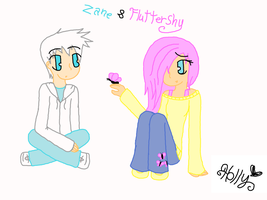 Ninjago/Friendship is Magic: Zane and Fluttershy by strawberrybunny4341