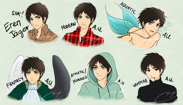 Vhenyfire's Different AU types of Eren by Vhenyfire