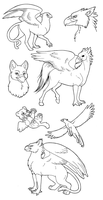 Free gryphon lineart by merrypaws