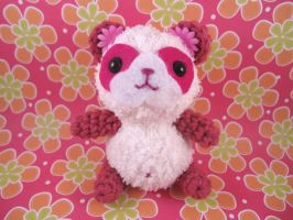 Pink and White Fluffy Panda by AmiTownCreatures