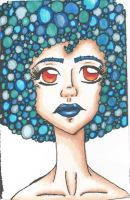 Blue afro girl by TheLuckyStarhopper