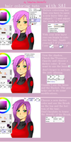 Hair coloring tutorial Paint Tool SAI~ by Sakudrew