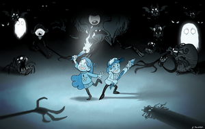Dipper and Mabel Pines in 'Don't Starve Together' by Arrog-Ent-Alien