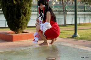 reimu walking on the water by noay94