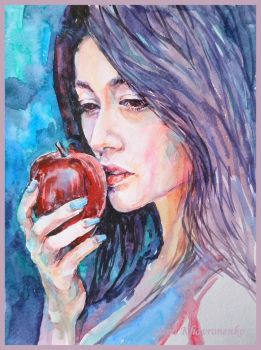Girl with a red apple by LORETANA