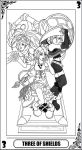 KH Tarot: Three of Shields (Lineart) by way2thedawn