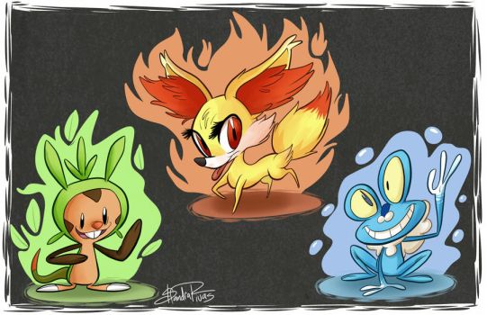 Pokemon X and Y Starters by happydoodle