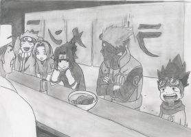 Team 7 and Konohamaru at Ichiraku - request by JamesUchiha