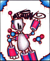 Graffiti Sticker MF-minK Robot by MF-minK