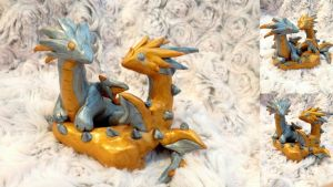 Argent and Aurum  Dragon pair  SOLD by SonsationalCreations