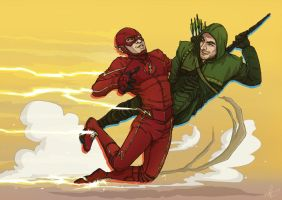 Arrow + The Flash by Kumagorochan