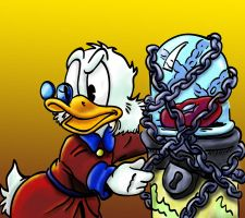 Scrooge keeps his money safe by grumsetuff