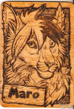 Wooden badge- Pyrography by FuzzyMaro