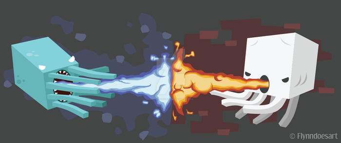 Fight of the Elements | Minecraft by Flynndoesart